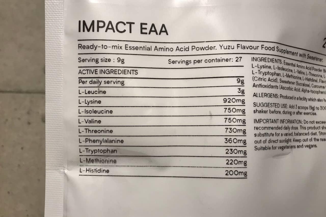 EAA(ゆず味)の成分表